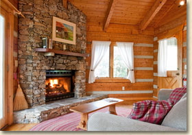 mountain cabin with fireplace in nc
