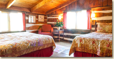 room with two beds in main lodge at smoky mountain getaway