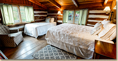 upstairs guest room in main lodge at cataloochee ranch and resort in maggie valley nc