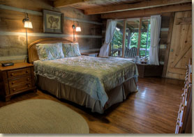 smoky mountain lodge with rustic guest room and private front porch