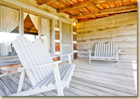 rustic nc lodge guest room with front porch